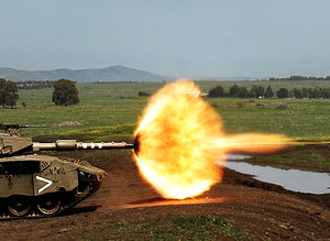 Muzzle flash - Muzzle flash of an Israeli Merkava IIId Baz tank IMI 120 mm gun