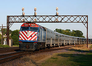 Commuter rail in North America - A Metra train in Chicago.