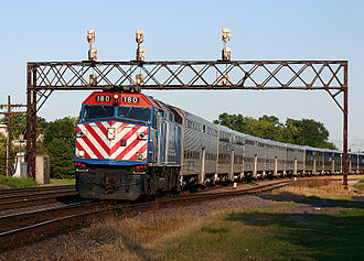 Commuter rail in North America - A Metra train in West Chicago, IL.