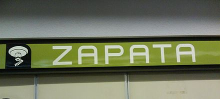 Metro Zapata in Mexico City, the icon shows a stylized, eyeless Zapata Metro Zapata.JPG