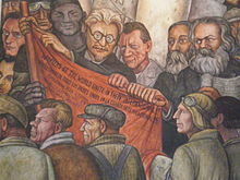 Detail of Man, Controller of the Universe, showing Leon Trotski, Friedrich Engels, and Karl Marx