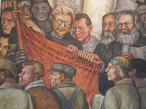 Man at the Crossroads - Detail of Man, Controller of the Universe, fresco at Palacio de Bellas Artes showing Leon Trotski, Friedrich Engels, and Karl Marx