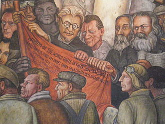 Man at the Crossroads - Detail of Man, Controller of the Universe, fresco at Palacio de Bellas Artes showing Leon Trotsky, Friedrich Engels, and Karl Marx