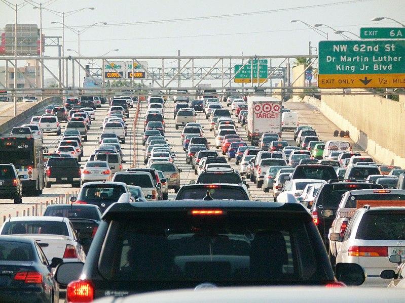 File:Miami traffic jam, I-95 North rush hour.jpg
