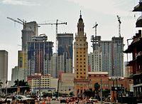 "The ongoing high-rise construction in Miami, has inspired popular opinion of ""Miami manhattanization"""