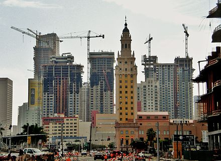 "As seen in 2006, the high-rise construction in Miami has inspired popular opinion of ""Miami manhattanization"" Miamimanhattanizationdowntown.jpg"