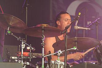 Michael Barker (drummer) - Barker at the Cambridge Folk Festival.