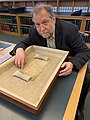 Michael Everson with Charter Fragment at British Library.jpg