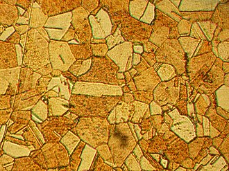 Brass - Microstructure of rolled and annealed brass (400X magnification)