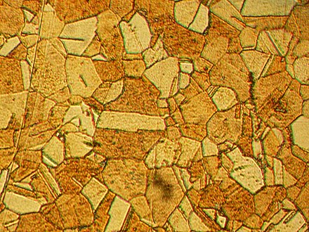 Microstructure of rolled and annealed brass (400x magnification) Microstructure of rolled and annealed brass; magnification 400X.jpg