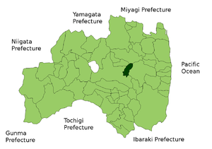 Akita clan - Map of modern-day Fukushima Prefecture. Miharu, which the Akita clan ruled, is highlighted in green.