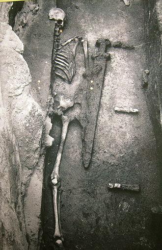 Mikulčice Archaeopark - Mikulčice, on display in Church 2. Skeleton with iron sword of Avar type