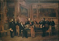 Council of Ministers in the Palais des Tuileries: Marshal Soult presents to Louis-Philippe a draft law on August 15 1842. Guizot stands on the left. Paiting of Claude Jacquand (1803-1878), said Claudius-Jacquand, 1844.