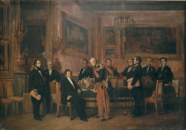 Council of Ministers in the Palais des Tuileries : Marshal Soult presents to Louis-Philippe a draft law on 15 August 1842. Guizot stands on the left. Painting by Claudius Jacquand (1844) Ministere Soult.jpg