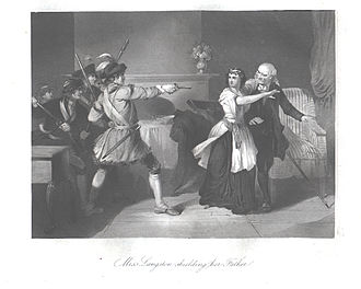 Dicey Langston - An engraving of Dicey Langston proteting her father from Loyalists