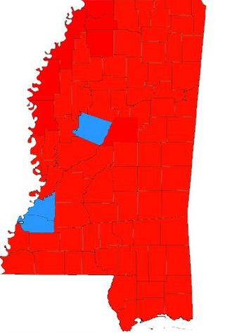United States presidential election in Mississippi, 1972 - Image: Mississippi 1972 county results