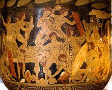 Стилизованный рисунок из греческой вазы, на котором изображены многочисленные обнаженные или почти обнаженные фигуры, некоторые из которых вооружены, некоторые подвергаются нападению.  В правом нижнем углу фигура держит большой щит;  над ним смотрит пожилой мужчина.