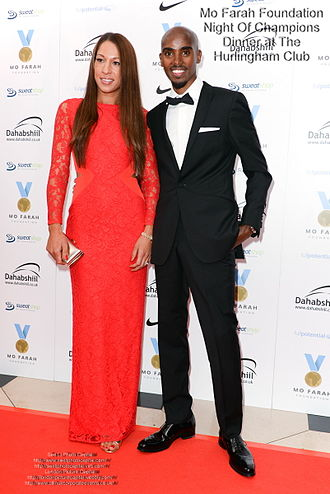 The Hurlingham Club - Mo Farah at the Night Of Champions Dinner at Hurlingham Club with his wife.