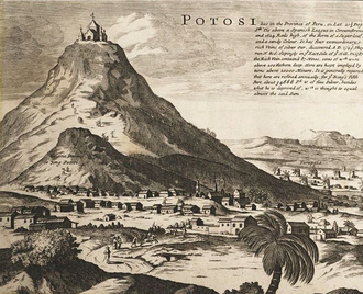 Cerro de Potosi, discovered in 1545, the rich, sole source of silver from Peru, worked by compulsory indigenous labor called mit'a Moll - Map of South America - Detail Potosi.png