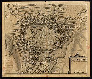 Siege of Mons (1572) - Old map of the fortress-city of Mons.