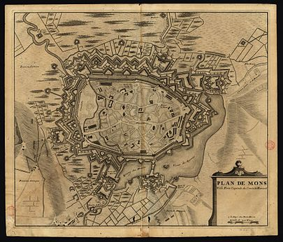 Old map of the fortress-city of Mons. Mons ville fortifiee du comte du hainaut.jpg