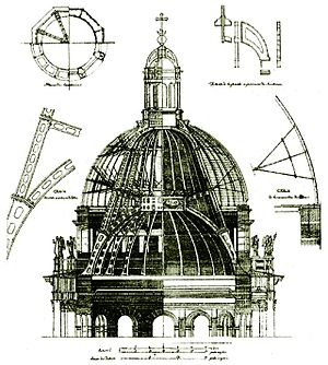 Saint Isaac's Cathedral - Montferrand's design of the dome is based on a supporting cast iron structure, and was only the third dome to be constructed this way.