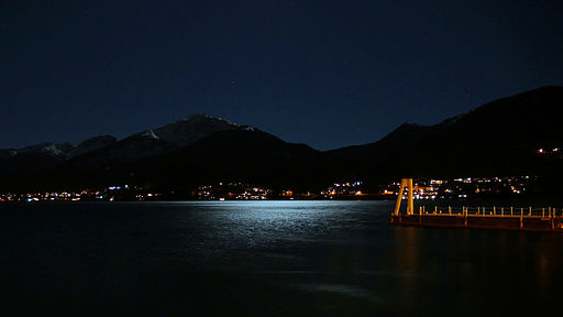 Moon reflecting off the ocean in Juneau