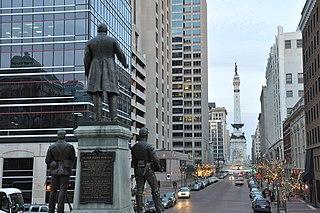 <i>Oliver P. Morton</i> (monument) artwork by Rudolph Schwarz
