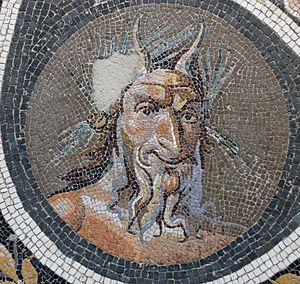 Animal worship - Pavement mosaic with the head of Pan. Roman artwork, Antonine period, 138–192 CE.