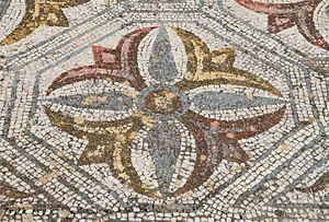 Roman ruins of Pisões - Image: Mosaic floor with geometric and naturalistic motifs, Roman Villa of Pisões, Lusitania, Portugal (13029474925)