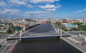 Krymsky Bridge - The Crimean Bridge in 2017. The New Tretyakov Gallery of 20th-Century Art is visible behind the bridge on the right