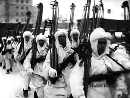 Red Army ski troops in Moscow. Still from documentary Moscow Strikes Back, 1942 Moscow Strikes Back - ski soldiers march to battle.jpg