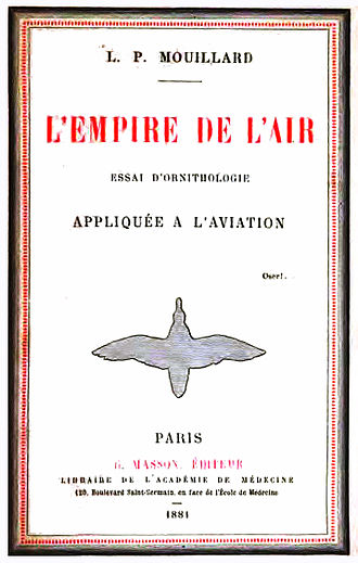 "Louis Pierre Mouillard - Cover of L'Empire de l'Air (1881) with ""Oser!"" above and to the right of the bird outline"
