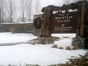 Mountain Village, Colorado - Welcome Sign to Mountain Village