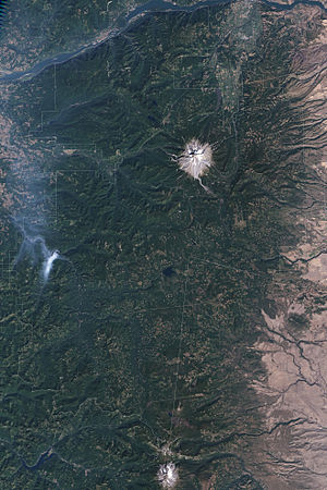 Mount Hood National Forest - Satellite image of part of the forest, including Mount Hood.
