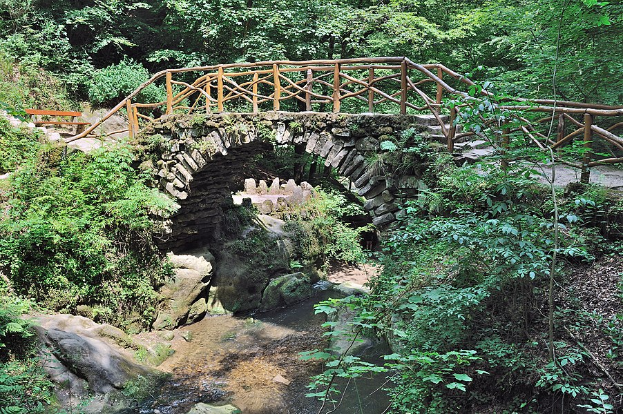 Luxembourg, Mullerthal: bridge over the Ernz Noire.