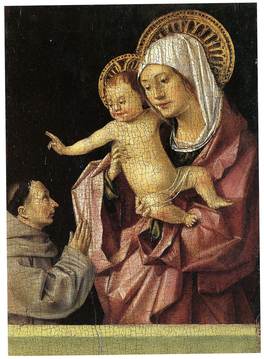 Antonello da Messina (1430–1479), Madonna col Bambino e un francescano, (recto), 1465-1470 circa, tempera su tavola, 16×11,9 cm, Messina, Museo regionale