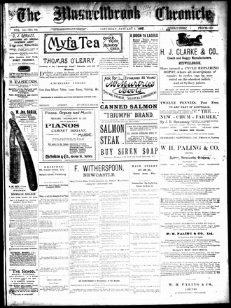 The Muswellbrook Chronicle and Upper Hunter advertiser - Muswellbrook Chronicle, 1 January 1898