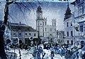 Námestie Štefana Moyzesa (Mátyás tér), szemben a Szlovák Nemzeti Felkelés (Slovenského národného povstania) tér (IV. Béla király tér) és az Óratorony, mögötte a Xavéri Szent Ferenc-székesegyház. Fortepan 86636.jpg