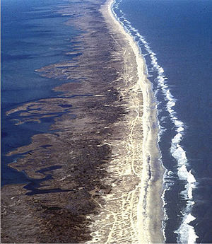 Outer Banks - Aerial view of Outer banks (looking north), with ocean on the right and sound on the left
