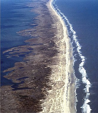 Banker horse - Aerial view of a barrier island in the North Carolina Outer Banks