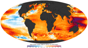 English: 1993-2010 sea level trends(mm/year). ...