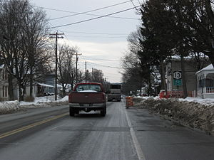 New York State Route 13 - NY 13 southbound as it approaches downtown Cortland.