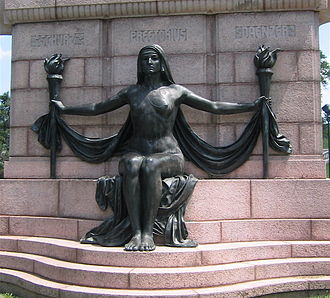 Westliche Post - The Naked Truth, unveiled in 1914, was a gift to the city of St. Louis by the German-American Alliance in honor of Carl Schurz, Emil Preetorius and Carl Daenzer, editors of the Westliche Post.