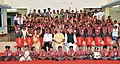 Narendra Modi in a group photo with specially abled children, at Saksham Education City, Jawanga, Dantewada, in Chhattisgarh on May 09, 2015. The Chief Minister of Chhattisgarh, Dr. Raman Singh is also seen.jpg