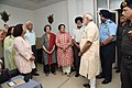 Narendra Modi visited Marshal of the Indian Air Force Arjan Singh who is critically ill following a cardiac attack and also met his family members, at Army Hospital (Research and Referral), in New Delhi.jpg