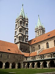 Naumburg Cathedral - west towers and cloister courtyard.