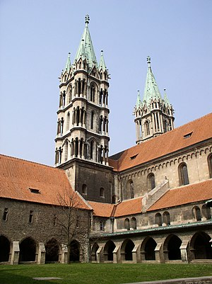 Naumburg Cathedral - Naumburg Cathedral, western towers and cloister courtyard