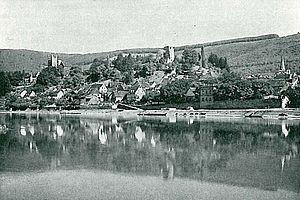 Neckarsteinach - Old view of Neckarsteinach in 1896 with Mittelburg (left) and Vorderburg (right)