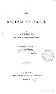<i>The Nemesis of Faith</i> book by James Anthony Froude